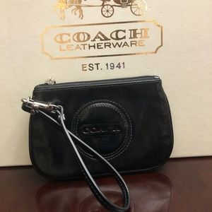 Coach Black Leather Embossed Wristlet